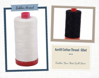 Aurifil 60wt Thread - Bobbin Thread, Applique, Quilting - 60 weight, 1531 yards, Cotton - A1160 / A1161 White or Black