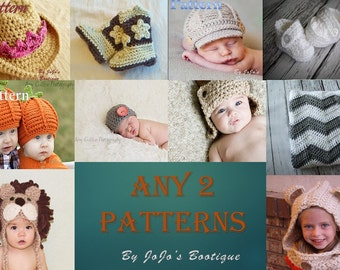 Baby Patterns - Baby Pattern Package - CHOOSE any TWO of our Single patterns - Crochet Baby Patterns - by JoJo's Bootique