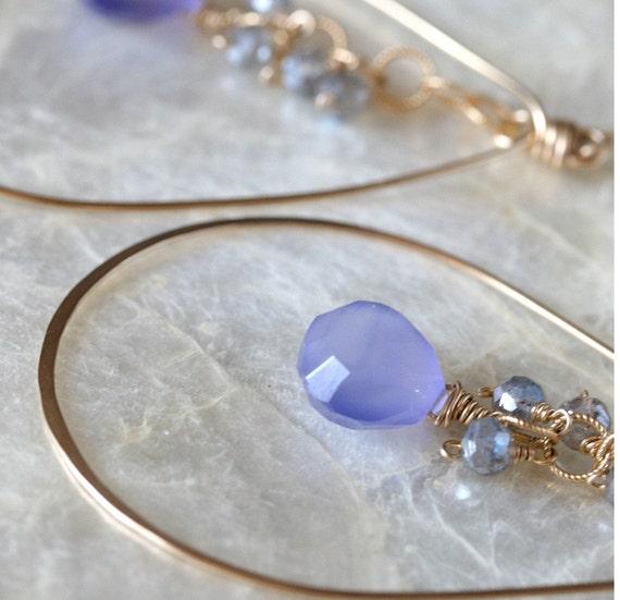Chalcedony Earrings - Gold Hoop Earrings - Chalcedony Jewelry - Periwinkle Chalcedony