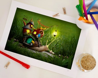 Special Edition Snail Print, Fantasy Snail House Print, Nursery Decor, Home Decor - A4. 29.6 x 20.7 cm