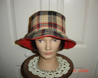 """Flannel Plaid Bucket Cloche Hat  22""""   Free Shipping"""