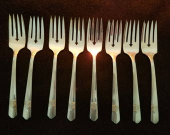 Silver Rose Oneida Simeon L & George H Rogers Co Silverplate Salad Forks Set of 8