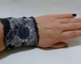 Felted cuff bracelet Felted embroidered bracelet Gray bracelet Bracelet with flowers Gift for women Gift for her Girlfriend gift Wife gift