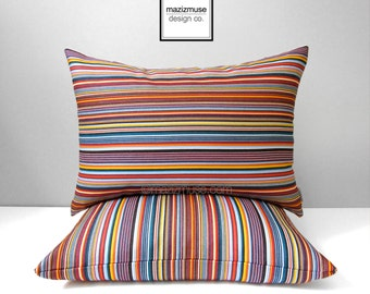 """SALE - Colorful Striped Outdoor Pillow Cover, Red White Navy Blue, Modern Pillow Cover, Decorative Nautical Cushion Cover, Sunbrella 14""""x20"""""""
