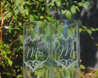 Mr. Mrs. Wedding Heart Clear Recycled Wine Bottle Glass Set (2)  Heart, Reduce Reuse Recycle, Cheers, Eco Friendly, Upcycle