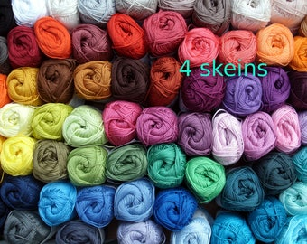 Catania cotton yarn, 4 skeins, 200 gr total, quality  Cotton yarn, each 50 gram, pick your colors, now 96 colors,