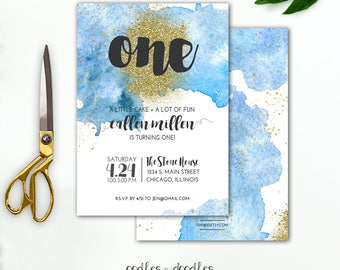 Blue Ombre Birthday Invitation Blue and Gold First Birthday Watercolors, ANY AGE, Printable Digital File or Printed Invitation