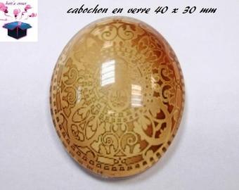 1 cabochon glass 40x30mm theme fabric gold
