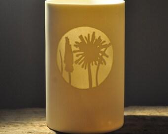 Porcelain Tea Light Holder 'Dandelions'
