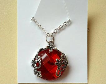 Red and silver filigree charm necklace - gifts for women