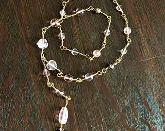 Pink and Rose Glass Beads and Gold and Copper Tone Twisted Wire Chain Y-Necklace with Heart Charm