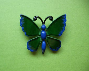 Vintage Butterfly Pin - Blue and Green