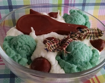 Mint Chocolate Chip, Spoonful Bowl, Soy Wax Candle, Dessert Candle, Bakery Scented, Creative Candle, Highly Scented, Candle Confectionery