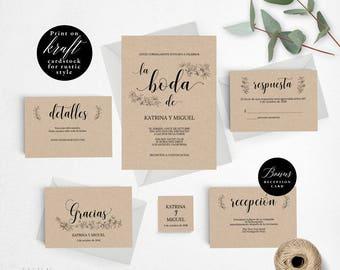 Spanish Rustic Wedding Invitation Template, Wedding Invitation Printable, Invitation Set, Cheap Invitation, DIY PDF Instant Download #E029