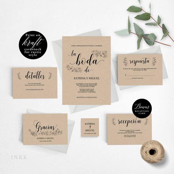Spanish Rustic Wedding Invitation Template Wedding Invitation - Spanish wedding invitations templates