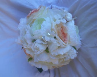Larga round  Bridal bouquet 14'' made of Peonies and blush pink and ivory roses with few rhinestone accent Free groom bouquet