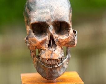 Copper Art sculpture of human skull