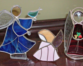Set of 3 Vintage Stain Glass Angels