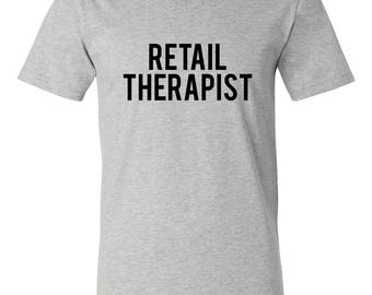 Retail Therapist Softstyle V-Neck Tee, Weekend Tee, Shopping Tee