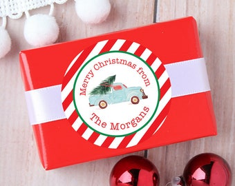 Christmas Stickers - Personalized Gift Labels - Vintage Watercolor Truck - Sheet of 12 or 24