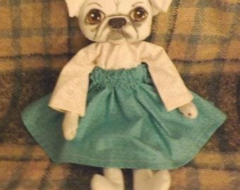 SALE,Pug,Dog Doll,Primitive Art Doll,Art Doll,Folk Art Doll,Folk Art Dog,Pet Art,Pug,Whimsical,Shabby Chic,Cloth Doll,Home Decor,Animal Art