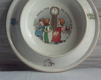 Vintage Royal Baby Plate Patented Feb. 7, 1905. Nursery Rhyme Hickory Hickory Dock The Mouse Ran Up The Clock. Double gold band. No chips.