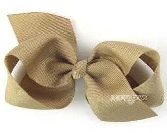 Girls Hair Bow - khaki hair bow - Loopy Bows - large hair bows - big hair bows - bows for girls - toddler clips hairbows 3.5 inch bows