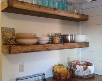 Wood Floating Shelves 12-inches Deep | Rustic Shelf | Farmhouse Shelf | Reclaimed Wood Floating Shelf | Handmade Shelf | Wood Wall Shelf