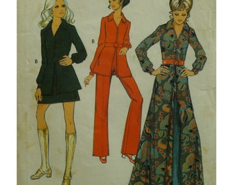 70s Coat Dress Pattern, Collar, Fitted Bodice, A-line, Button Front, Long/Short, Long Sleeves, Mini Skirt, Pants, Style No. 2823 Size 14