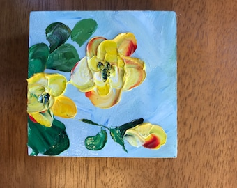 Miniature, Yellow Flowers, Small Art, Tiny painting