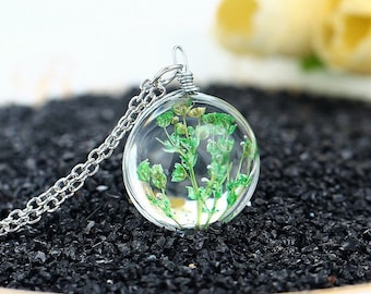1 round round green flower glass pendant with chain