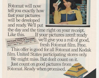 1977 Advertisement Fotomat Drive Thru Film Developing Free Roll Through Photomat 70s Photography Studio Wall Art Decor