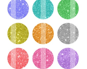 Glitter Bottlecap Images, Glitter 1 Inch Circles, 4x6, Instant Download