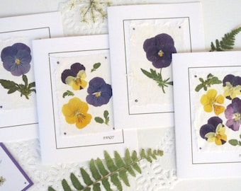 Pansies -  Pressed Flowers Greeting Cards - Set of 4 Notecards, Blank Floral Cards For Pansy Lovers Thinking of you Birthday Cards