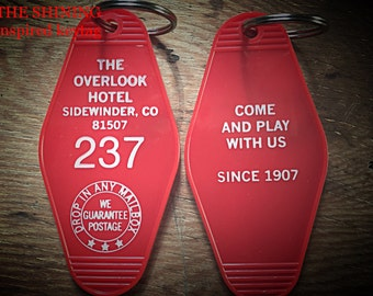 Room 237  KEYCHAIN (white lettering) // Shining inspired OVERLOOK HOTEL -  On Sale!