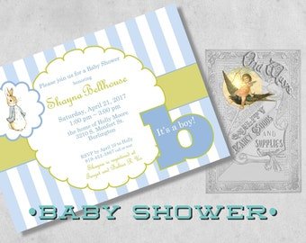 It's a Boy! Peter Rabbit Baby Boy Shower Invitations - Custom Printed Baby Shower Invitations - Blue and Green Vintage Baby Shower
