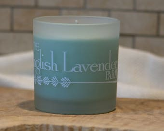 Lavender & White Spruce Essential Oil Soy Wax Candle in Frosted Glass
