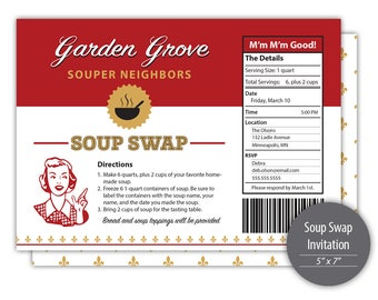 Soup Swap Invitation --- Personalized Printable --- #C501-I