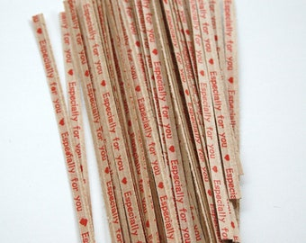 Especially for You Heart Brown Kraft Paper Twist Ties - set of 25