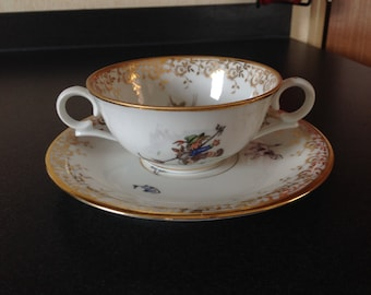 Tea cup coffee cup Limoges porcelain en berry Tea coffee cup and saucer double handle vintage rare