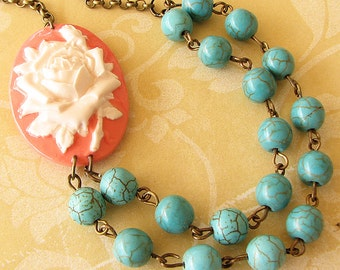 Cameo Necklace Cameo Jewelry Turquoise Jewelry Flower Necklace Coral Jewelry Beaded Necklace Gift For Her