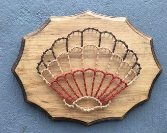 CLEARANCE, String Art, Scallop Shell String Art, Seashell Art, Beach Art, Nautical Wall Art, Nautical Baby Shower, Beach Decor, Beach Lovers