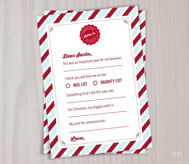 Dear santa letter printable letter to santa boy or girl zoom spiritdancerdesigns Images