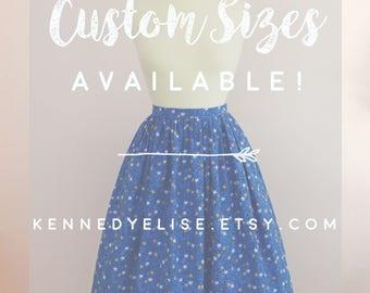Custom 1950s Inspired Novelty Print Full Gathered Skirt | Mid Century JW Modest Skirt | Retro Lemon Print Skirt | Rockabilly Full Midi Skirt