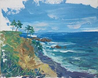 "Acrylic Painting Impressionism Impasto オリジナル画 ""Ocean Breeze at Laguna Beach""  8"" X 10"" by Yoko Collin,  canvas"