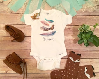 Cute Baby Gift, Custom Baby Onesie®,  Personalized Baby Gift, Custom Bodysuit,  Baby Shower Gift,  Take Home Outfit, Feather Baby Clothes