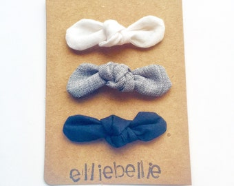 Set of 3 Everday Basic Knot Bow Clips //solid color bows //white, gray, black //baby bows //knot bows //baby headbands