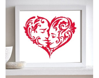 Heart Silhouette, Red Heart Silhouette Pattern, Wedding Cross Stitch Pattern, Silhouettes, PDF - PATTERN ONLY