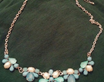 Vintage Powder Blue and White Flower Cluster Beads Necklace Silver Tone Chain with Hook Clasp