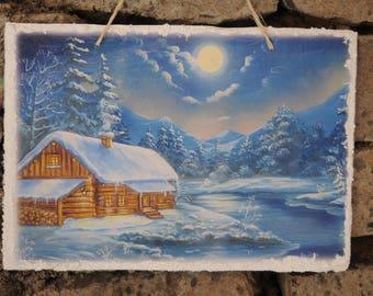 """Slate """"Winter landscape - little house on a frozen lake"""""""